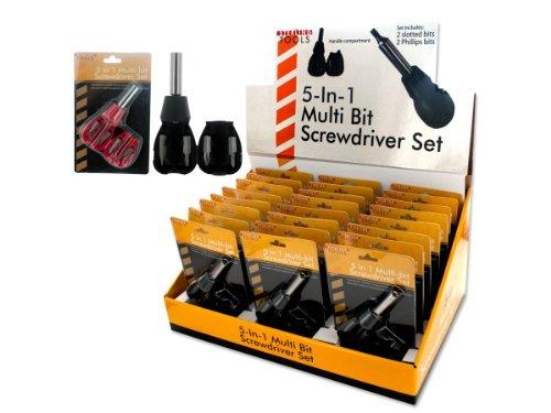 Bulk Buys MR120-24 5-In-1 Multi Bit Screwdriver Set Countertop Display