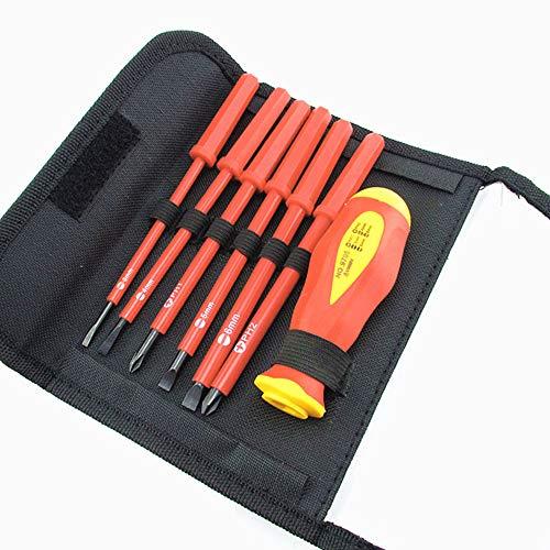 Electricians Screwdriver Set Interchangeable SL PH Insulated Screwdriver Tools Kit 7pcs 5001000V
