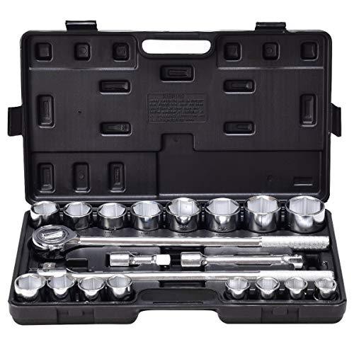Goplus 21pcs SAE 34 Drive Socket Set wCase Jumbo Ratchet Wrench Extension 21pcs