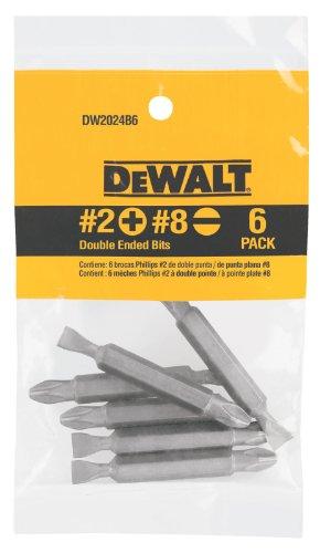 DEWALT Screwdriver Set 2 Phillips  No 8 Slotted Double Ended Bit 6-Pack DW2024B6