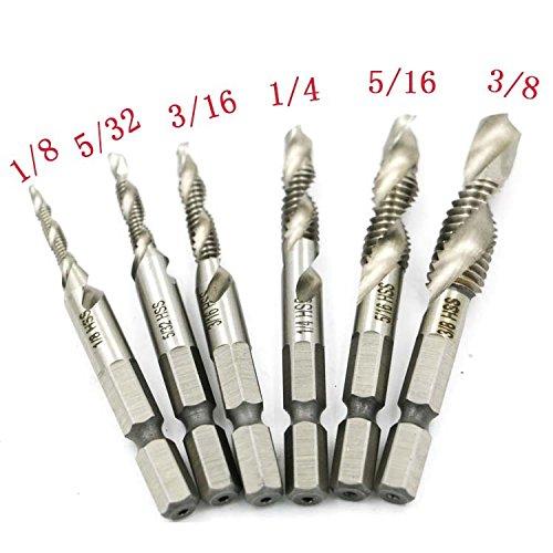 Yakamoz 6PCS SAE Drill Tap Combination Bit Set HSS M3-M10 Deburr Countersink Bit 14 Hex Shank Tool Kit
