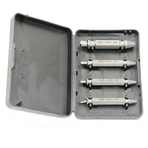 QST 4Pcs Set Bolt Screw Speedout Damaged Screw Extractor Bolt Extractor Drill Bits Guide Set