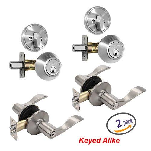 Dynasty Hardware V-CP-HER-US15 Heritage Front Door Entry Lever Lockset and Single Cylinder Deadbolt Combination Set Satin Nickel - 2 PACK - Keyed Alike