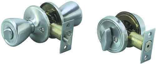 Legend 809005 Tulip Style Front Door Knob Entry Lockset and Single Cylinder Deadbolt Combination Set US27 Brushed Aluminum Finish