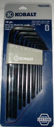KOBALT 10 PC METRIC HEX WRENCH SET 10mm 8mm 6mm 55mm 5mm 4mm 3mm 25mm 2mm 15mm LIFE TIM WARRANTY by Kobalt