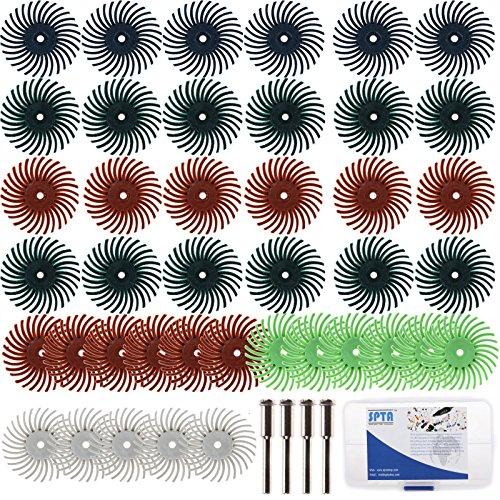 SPTA 125mm Dia Mix Grit Radial Bristle Disc 10 Mandrels EACH  332 18 SHANK Kit For Dremel Rotary Tools Pack Of 52Pcs