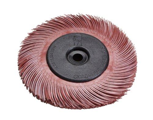 Scotch-BriteTM Radial Bristle Disc Thin Bristle Ceramic 20000 rpm 3 Diameter 220 Grit Red Pack of 40