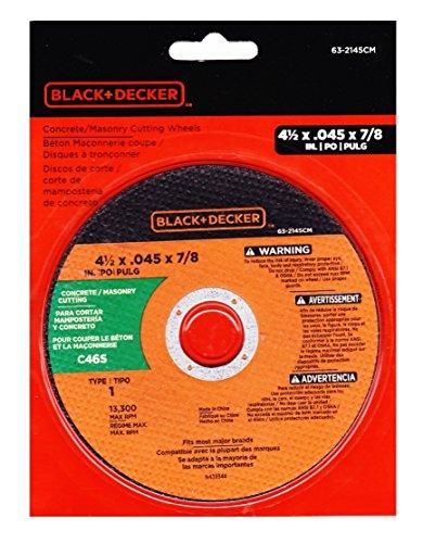 Black  Decker Concrete Masonry Cutting Wheel 4 12 Inch By 45 By 78 Inch