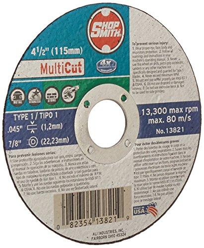 ali industries 6900942-500 ShopSmith 10 Pack 4-12 -Inch x 045 -Inch x 78 -Inch Multi Cut Metal StainlessMasonry Cutting Wheel