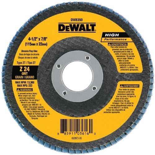 DEWALT DW8302 4-Inch by 58-Inch 60 Grit Zirconia Angle Grinder Flap Disc by DEWALT