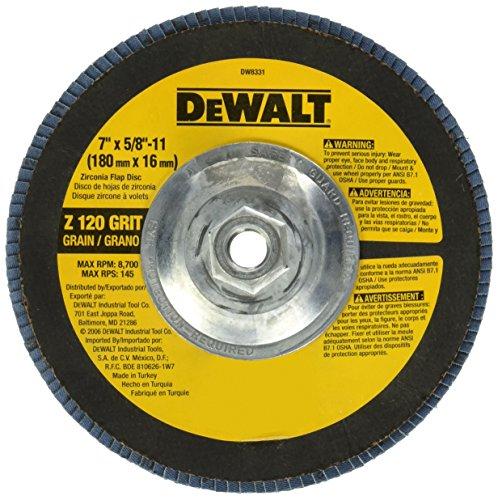 DEWALT DW8331 7-Inch by 58-Inch-11 120 Grit Zirconia Angle Grinder Flap Disc