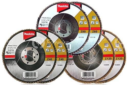 Makita 6 Piece - Multi Grit Flap Disc Set For Grinders - 3-In-1 Conditioning For Metal Stainless Steel Non-Ferrous - 4-12 x 78-Inch  Z40 Z80 Z120 Angled