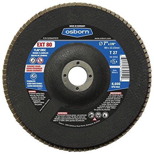 Osborn 5218437572 27 Ceramic 80 Grit Flap Disc T27 7 x 78 EXT 80 7 Type Pack of 10