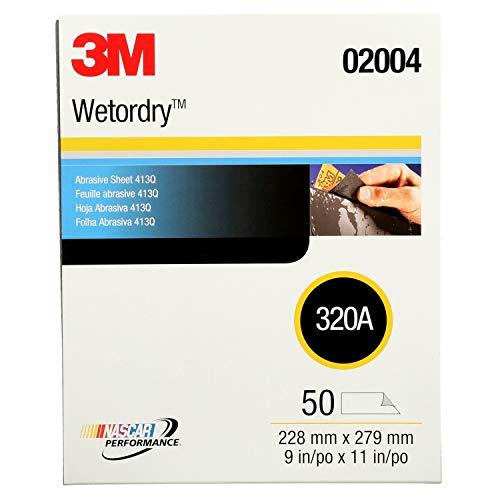 3M Wetordry Abrasive Sheet 413Q 02004 320 9 in x 11 in 50 sheets per carton