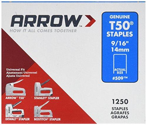 Arrow Fastener 509 Genuine T50 916-Inch Staples 1250-Pack