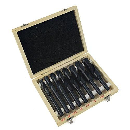 XtremepowerUS 8-Piece Reduced Shank Drill Bit Set High Speed Steel HSS Silver Deming 916 To 1 Black Storage Case