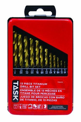 Task Tools T90013 13-Piece Titanium-Coated HSS Drill Bit Set 116-Inch Through 14-Inch Bits