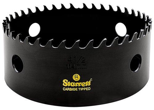 Starrett CT412 Steel High Performance Triple Chip Tungsten Carbide Tipped Hole Saw Carbide Teeth 4-12 Diameter 1-58 Cutting Depth 58-18 Thread Black