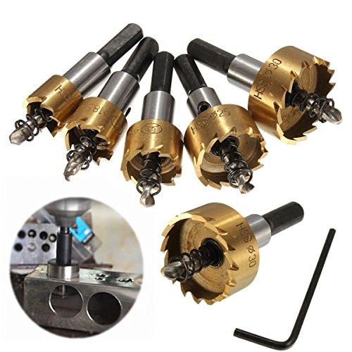 MOHOO 5PCS High Speed Steel HSS Drill Bit Hole Saw Set Stainless Steel Metal Alloy Kit 16mm18mm20mm25mm30mm
