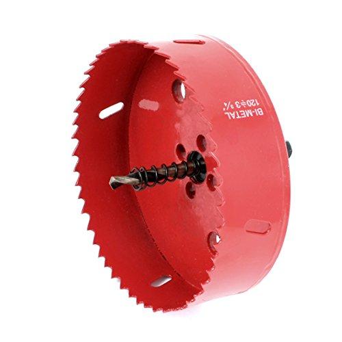 uxcellHSS 120mm Dia Wood Aluminum Alloy Cutting Tool Bimetal Hole Saw Red