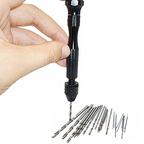 20 Pcs Mini Micro Twist Drill Bits  03mm-16mm w Aluminum Hand Drill Keyless Chuck