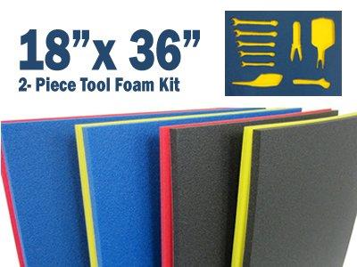 5S Tool Box Shadow Foam Organizers 2 Color Custom Size 18 x 36 Black TopYellow Bottom