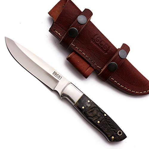 GCS Custom Handmade Sheep Horn Handle D2 Tool Steel Tactical Bushcraft Hunting Knife with HorizontalVertical Leather Sheath GCS195