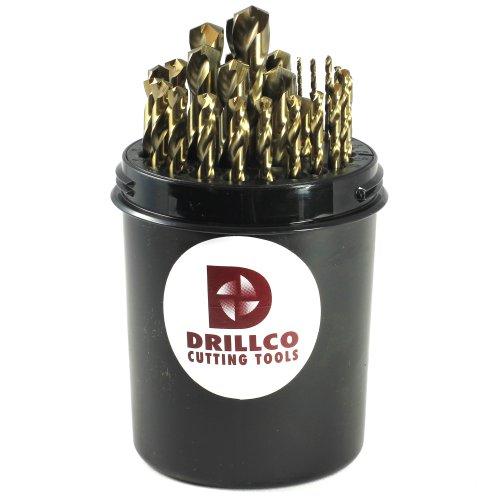 Drillco 500 Series 29 Piece Cobalt Steel Heavy-Duty Jobber Drill Bit Set Bronze Finish Round Shank Spiral Flute 135 Degrees Split Point Drill Pal 116 - 12 in 164 increments