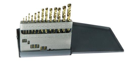 Drillco 500E Series 13 Piece Cobalt Steel Heavy-Duty Jobber Drill Bit Set Bronze Finish Round Shank Spiral Flute 135 Degrees Split Point 116 - 14 in 164 increments