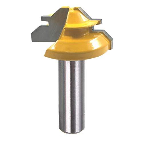 Eyech 45-Degree Lock Miter Router Bit 1-38 Inch Diameter Woodworking Cutter Tool with 12 Inch Shank