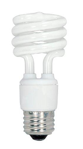 Satco S6237 13-Watt Medium Base T2 Mini Spiral 5000K 120V Equivalent to 60-Watt Incandescent Lamp for Enclosed Fixtures