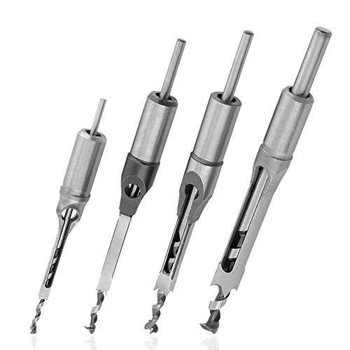 Saiper 4pcs Square Hole Drill Bits Mortising Chisel Set Woodworking Mortise Chisel Square Drill Bit Set 14 516 38 12