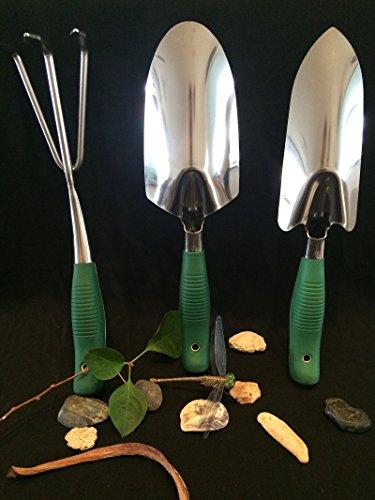 Garden Tools Set - 3 Piece Heavy Duty Gardening Hand Tool Set Weeder Shovel Trowel Rake Cultivator - Ergonomic Soft Touch handle Stainless Steel for Garden Lovers