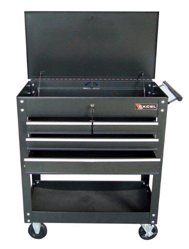 Excel TC400 Four Drawer Tool Cart Black