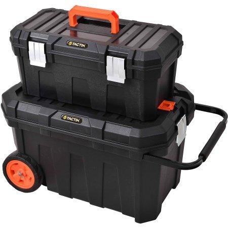 2-In-1 Rolling Tool Box Heavy duty steel latches