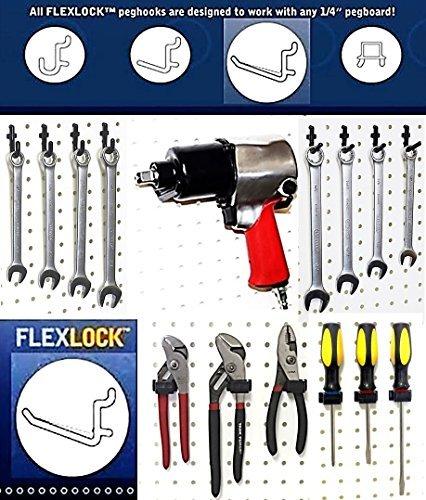 WallPeg Pegboard Hook Kit - Flex-Lock Peg Hooks - Garage Tool Storage 50 Mix Bk NEW Model AM-50 MIX-BK Tools Hardware store