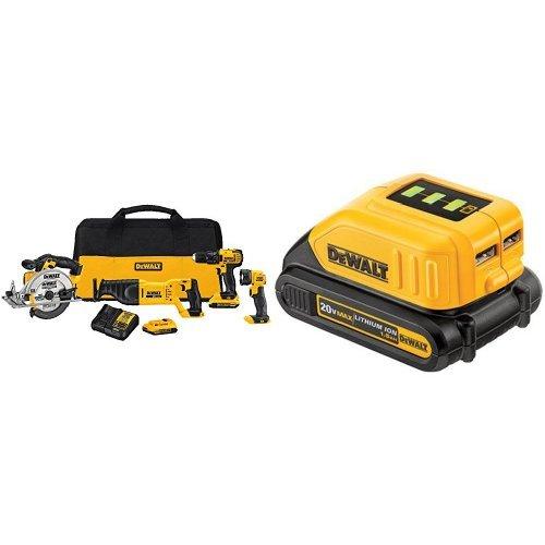 DEWALT DCK423D2 20V MAX 4-Tool Combo Kit and USB Power Source