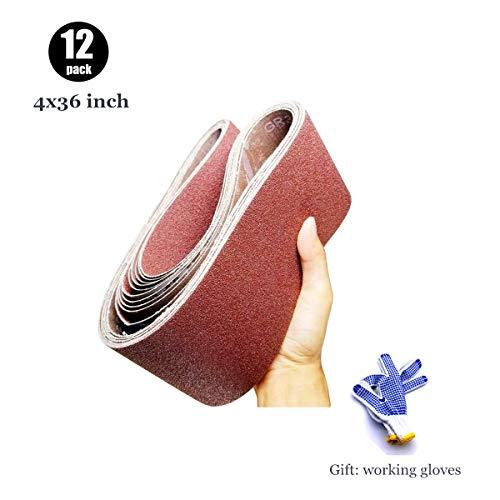 4 x 36 Sanding Belt Aluminum Oxide Belt Sandpaper for Belt Sander 4x36  2 Each of 60 80 120 150 240 400 Grits12 Pack4x36 Inch