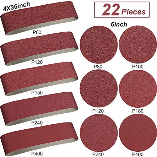 Aluminum Oxide Sanding Belts - 10 Pieces 4 x 36 Inch Sanding Belts 80120150240400 Grits and 12 Pieces 6 Inch Self Stick No-hole Aluminum Oxide Sanding Disc 80100 120180 240400 Grits