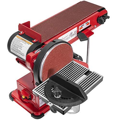 XtremepowerUS 2-in-1 Belt Disc Sander Station 4 x 36 inch Adjustable Table Belt Angle Sander Dust Port Tension Spring Red