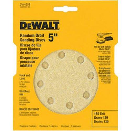 DEWALT DW4301 5-Inch 8 Hole 80 Grit Hook and Loop Random Orbit Sandpaper 5-Pack