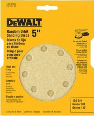 DEWALT DW4303 5-Inch 8 Hole 120 Grit Hook and Loop Random Orbit Sandpaper 5-Pack by DEWALT