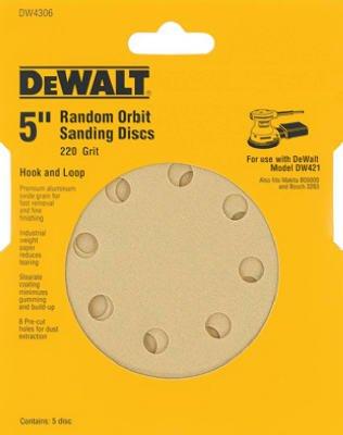 DEWALT DW4306 5-Inch 8 Hole 220 Grit Hook and Loop Random Orbit Sandpaper 5-Pack