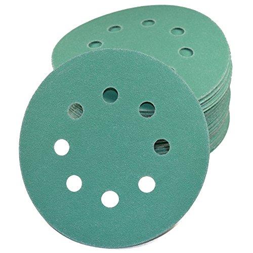 HQRP 5 8-Hole Dustless Hook Loop Sanding Discs Random Orbit Sandpaper 5-inch 50 Pack 10 Each of 5 Grits