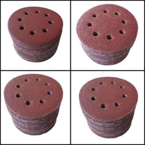 SHINA 50pcs 5125mm 8 Hole 100 Grit Mix Sanding Disc Random Orbit Sandpaper Velcro Sander