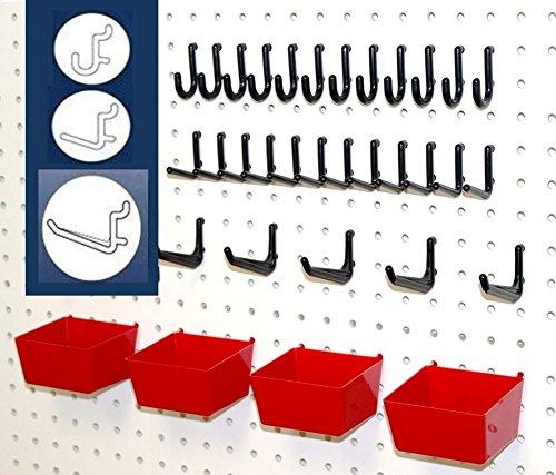 WallPeg 43 Pc Peg Hook Kit Plastic Bins - Flex-Lock Pegboard Tool Storage RB  AM 304-2