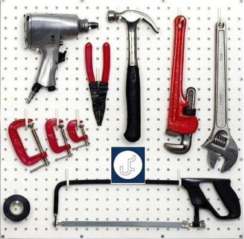 WallPeg White Pegboard Hooks - Flex-Lock J Style for Pegboard Tool Storage 100-pk