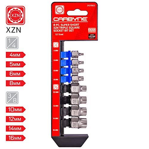 CARBYNE 8 Piece Super Short XZN Triple Square Socket Bit Set 4mm to 16mm  S2 Steel