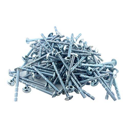 100 Pack Rok Hardware 8 x 2 Slotted Machine Thread Phillips Sqaure Drive Break Away Long Truss Head Screws