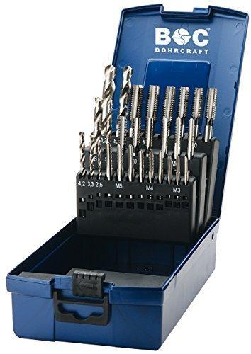 Tap Drill Bit Set M3-M12with Drills Hss Left Hand Thread Hand Tap by Bohrcraft